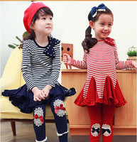 Wholesale Spring Autumn Girl Clothing Set Pure Cotton Bowknot Stripe Dress Leggings Children Suit DK Blue Red Age Kids Set WD227