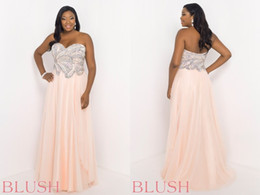 Wholesale Charming Blush Chiffon Plus Size Prom Dresses A Line Sweetheart Evening Gown Crystals Zipper Backless Floor Length Formal Dress W