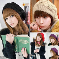 Wholesale Winter Warm Women Beret Braided Baggy Beanie Crochet Hat Ski Cap Colors SV000232