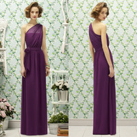 Wholesale Purple Color One Shoulder Ruched Long Chiffon Bridesmaid Dresses From China Cheap On Promotion Bridesmaid of the Honor Dress Custom Made