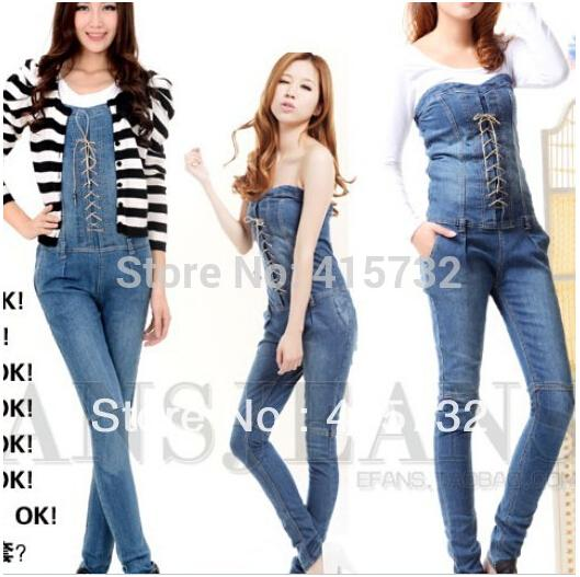 2015 New Fashion Summer Tube Top Denim Jumpsuit And Rompers Women ...