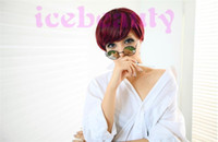 Cheap New Stylish Burgundy Short Straight Synthetic Hair wigs Party Cosplay Synthetic Hair Lady's Wig Wigs Heat Resistant
