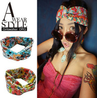 Cheap 2014 wholesale fashion cotton floral fabric crossing wide headband hair accessories popular for women