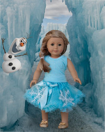 Wholesale set quot American Girl Doll Elsa Rhinestone Tee Blue Pettiskirt Clothes Dress Outfit
