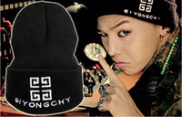 Wholesale GDragon Fashion Autumn Winter Men Women Hats Black Hiphop Knitting wool Hats GD Boy GIYONGCHY Beanie caps Bigbang warm Hat J091801