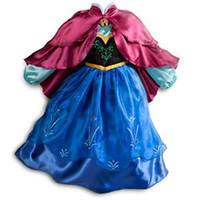 Wholesale New Girls FORZEN Princess Dresses Children Queen Flower Long Sleeve kids summer Autumn Spring Dress clothing cm