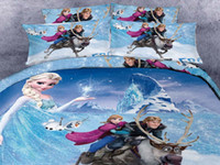 kids cartoon bedding set - 3D Cartoon Kid Bedding Sets Princess Anna Olaf Frozen Home Textiles Duvet Covers Flat Sheet Pillow Cases Cotton Cheap Bed In A Bag