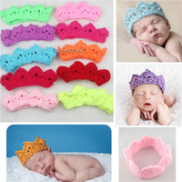 Wholesale Fashion Crocheted Hats Toddler Crochet Knit knitted Crochet baby Princess prince Crown Tiara Headband Newborn Photography Prop Baby s Cap
