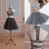 Wholesale In Stock Homecoming Dress Two Pieces Gray Tulle Graduation Gown with Rhinestones and High Neck Short Prom Gown Real Pictures