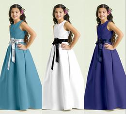 Wholesale 2015 Cheap In Stock Navy Blue Junior Bridesmaid Dresses Jewel Sleeveless A Line With Ribbon Flower Bow Duchess Satin Flower Girl Dress