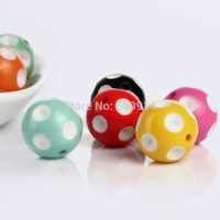 Wholesale mm mm Bubblegum Beads Mixed Color Polka Dot Chunky Beads Fit Making Necklace Bracelet