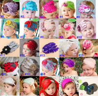 Wholesale New TopBaby boys girls large flower crochet hair bow clip Feather headband baby headband baby hair band a607