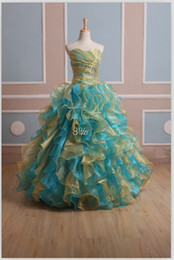 Wholesale In Stock New Fashion Ball Gown Lace up Floor Length Prom Party Dresses with Beaded Cascading Ruffles US Size
