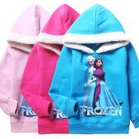 Wholesale Frozen Elsa Anna Girls Sweater Kids Autumn Winter Color Thicken Sweater Coat Children Top Fashion Hoodies DG GD14