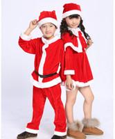 al por mayor set vestidos de santa-Ventas al por menor 1set 3-12years los niños de la muchacha del muchacho del juego de Santa de la novedad del traje de la ropa del bebé de Navidad Conjuntos vestidos de las muchachas / mantón / sombrero Niños Escudo / Pantalones / sombrero
