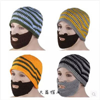 Wholesale 2014 COLORS fashion New New Men s Crochet Beard Beanie Mustache Mask Face Warmer Ski Winter Knit Hat Cap topB371