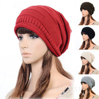skull caps - 2014 Fashion Women Ladies Unisex Winter Knit Plicate Slouch Cap Hat Knitted Skull Beanies Casual Ski colors