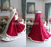 Wholesale Winter Valentine Bridal Cape Burgundy and Ivory Satin Fur Hooded Wedding Cloak Two tone Chapel Train Wedding Cape with Hood Wrap Coat Custom