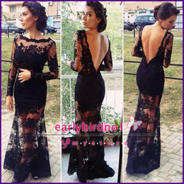 Wholesale 2014 Black Lace Backless Evening Gowns With Sheer Long Sleeves Inspired by Kim Kardashian Dresses Vestidos Long Mermaid Prom Dresses