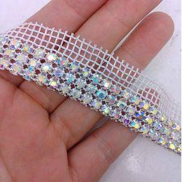 1 Yard 3rows Diamond AB Rhinestone Wedding Cake Banding Trim Cake Ribbon Decoration Free shipping