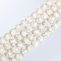 Wholesale Natrual White Turquoise MM MM MM MM MM Round Stone Beads Loose Strand Natural Stone Jewelry Beads