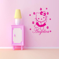 hello kitty stickers - HELLO KITTY Personalized Name Cartoon Vinyl Wall Sticker Art Decal for Girls Room Decor