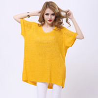 Cheap Solid 4 Candy Colors Women Loose Hollow-out Plaid T-shirts tm49 O-neck Knit Tee Tops Short Sleeve Plus Size Jumper Blouse