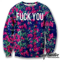 """Cheap 2014 fashion women men clothes novelty printed Letters """"FUCK YOU"""" and sexy flowers print 3d Hoodies sweaters Galaxy sweatshirts"""