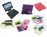 Wholesale Free DHL Degree Rotating Case Cover Stand detachable Wireless Bluetooth Keyboard rotation bracket for iPad