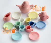 coffee pot tea - Dolls Toys For Girls of Porcelain Coffee Tea Lid Pot Cups Set Dollhouse Miniature Furniture
