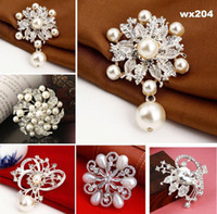 Wholesale 12pcs floral DIY Brooch waterdrop Crystal Bridal Jewelry Pin Wedding Dress Decoration Bouquet Adornment wx256