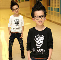 Boy 100 cotton white t shirt - 2014 Spring Autumn Boy Clothes Long Sleeve T Shirt Fashion Skull Pure Cotton Children Tshirts Korean White Black Kids Topwear WD233