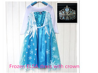 children dresses - Snow Queen ELSA Dress Set ELSA Party Costume Dress With ELSA crown Lace Princess Cartoon Blue Dress Elsa Tull Child Dress dhl free