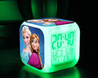 Wholesale Hot Sale Frozen LED Digital Alarm Clock Frozen Anna and Elsa Thermometer Night Colorful Glowing Clock