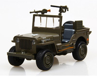 Wholesale 1 Willys jeep diecast Car Collection with sound and light Army Green