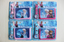 Frozen Anna Elsa Sets Watch and Wallet Purse Kids Fashion Quartz Cartoon Candy Cute Lovely Boy Girl Woman Lady Children Christmas gift 10pcs