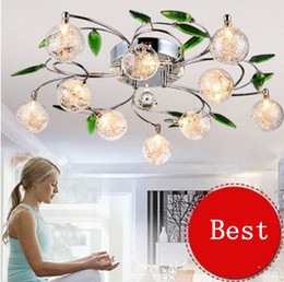 Wholesale LED Ceiling Light Modern Green Leaves Light Crystal Ball Ceiling Light Aluminium Wire Ceiling Lamp for Study Bedroom Living Room Dining Room