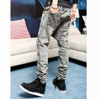 big men slacks - Men Korean Design Low Drop crotch Denim Jeans Harem hip hop Long pants Slack baggy Plus Big Size pants Stretch trousers Grey
