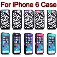 al por mayor cubiertas híbrido de cebra iphone-Zebra Stripe casos para iPhone 6 iphone6 4.7 Impermeable a prueba de choque Defender Back Case cubiertas de protección Hybrid Silicona Flipcover PC Shell