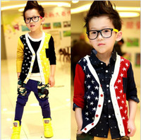 Cheap 2014 Autumn Boys Crochet Cardigan Children's Clothing Cotton Stars OverCoat Outwear Boy Jackets Over Coat Clothes Yellow Red 100-140cm K1341
