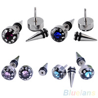 Wholesale 2Pcs Blue Crystal Stainless Steel Ear Stud Earring Spike Men s Punk Cool Gothic