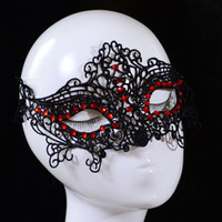 Wholesale New Design Women Lace Face Eye Mask Masquerade Ball Red Crystal Halloween Party
