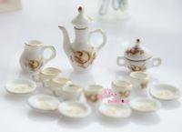 Wholesale China vase Coffee Tea Lid Pot Cups Set Scale Dollhouse Miniature Furniture