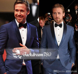 Wholesale Hot sale dark navy slim fit mens formal celebrity prom suits custom made wedding Groom Tuxedos two buttons Groomsmen suits Jack