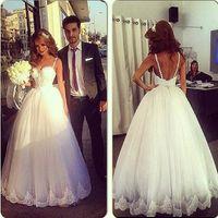 Wholesale Vestido De Noiva Wedding Dress Sheer Spaghetti strap Applique Crystal Beads A line Backless Floor Length Wedding Bridal Gowns