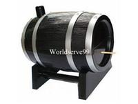 Wholesale Oak Wine Barrel Type Automatic Toothpick Holders Bucket Toothpick Box Dispenser Creative