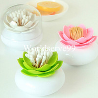 Wholesale Lotus Cotton Swab Box Cotton Bud Case Organizer Creative Toothpick Holder Container Home Decor
