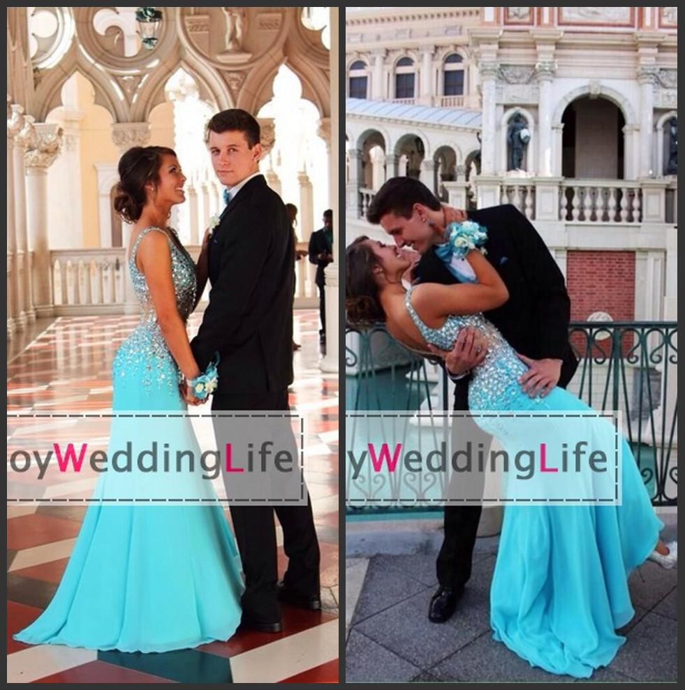 Wedding 2015 Prom where to buy pink sheer waist prom dress online can i 2015 sexy new light blue v neck chiffon dresses beaded crystals top split floor length evening dresses