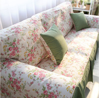 Wholesale S V HOT Rose cotton Sofa Cover Cloth gremial Sofa Towel full set American style Sofa towel size optional Can be Customize