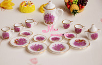 Wholesale Gift For Girls Dollhouse Miniature of Purple Flower Porcelain Coffee Tea Cup Set Furniture